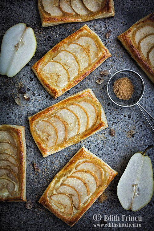 Pear puff pastry with salted cheese