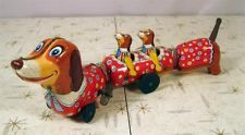 Vintage Tin Litho Wind Up Toy DACHSHUND DOG TRAIN Puppies S Japan VIDEO