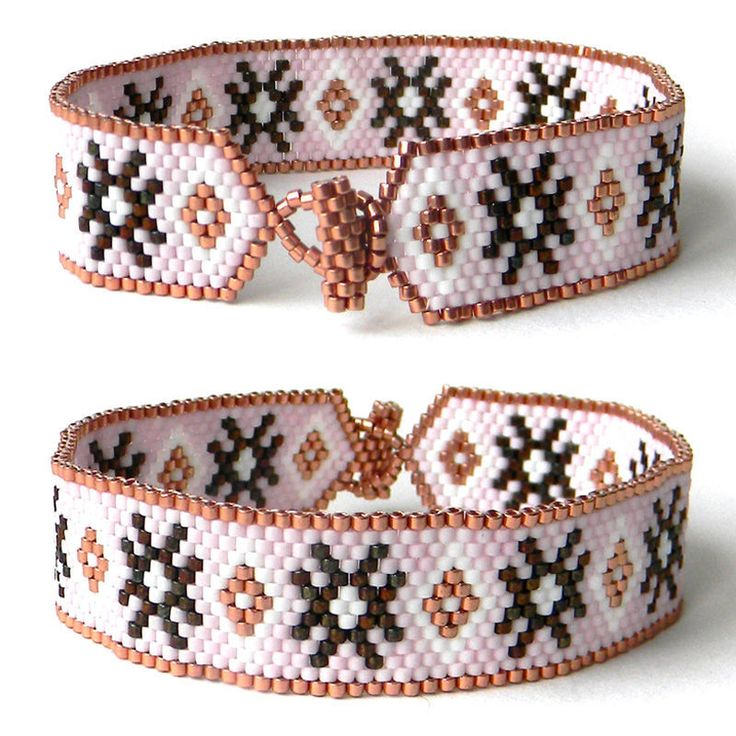 beaded bracelet peyote bracelet beadwork Узкий браслет из бисера, нежный браслет с орнаментом - мужской браслет, женский браслет