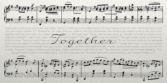This is a unique sheet music canvas that includes 2 sheet music stanzas, the title of the song and the lyrics of the song. This is personalized to your liking (color, size, design). This can make a great anniversary gift or just a great addition to your home decor. **Choose your own song** Made-To-Order Ready to order? 1. Make the order through Etsy with Paypal or Credit Card 2. Write the name of the song and artist in the order notes or message me here on Etsy 3. Will provide proofs so y...