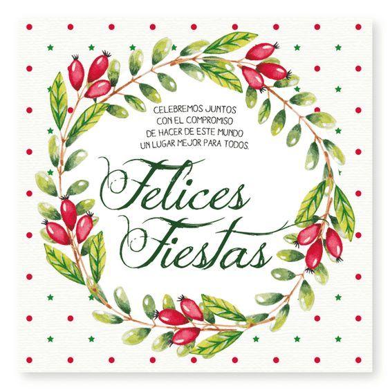 Felices Fiestas Acuarela :: tarjetas para navidad y fin de año - comprar online