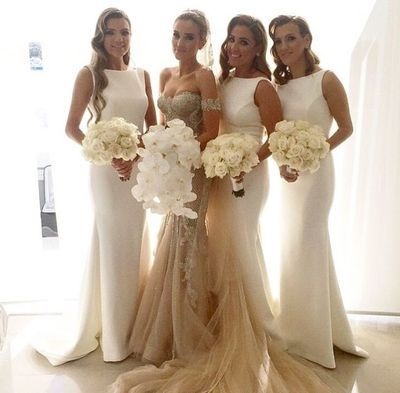 long bridesmaid dress, white bridesmaid dress, cheap bridesmaid dress, modest mermaid bridesmaid dress, 14699