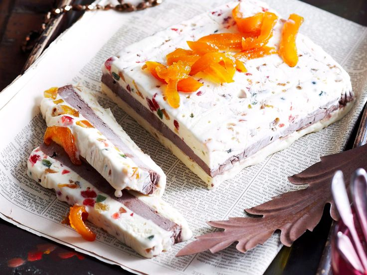 The rainbow coloured dried fruit and nuts in this cassata recipe by Woman's Day create a lovely 'stained glass' effect. Always buy the finest quality ice-cream your budget will allow.