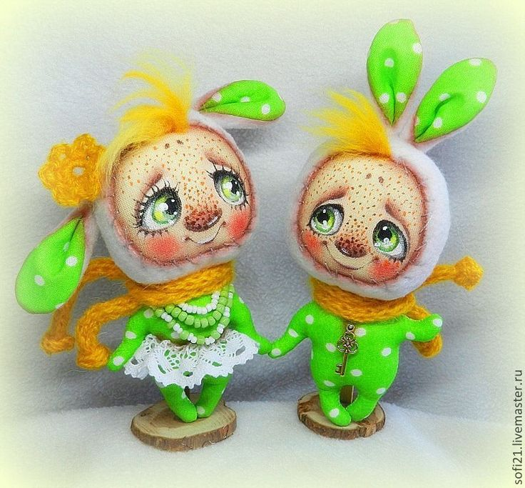 Купить ОСОБОЕ состояние:) - ярко-зелёный, зайцы, кукла, интерьерная кукла, авторская игрушка