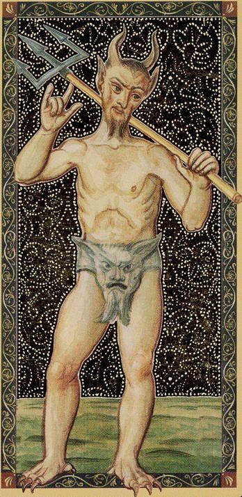 XV - The Devil - Golden Tarot of Renaissance par Giordano Berti & Jo Dworkin