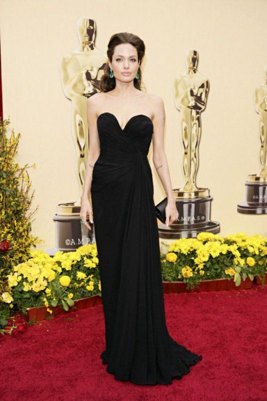 Angelina Jolie Black Evening Dress 81st Oscar Red Carpet