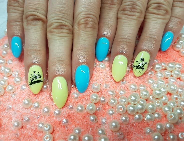Blue Yellow nails - Summer nails