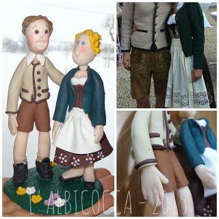 Wedding Cake Topper (Sopratorta Nuziale) in abiti tradizionali austriaci