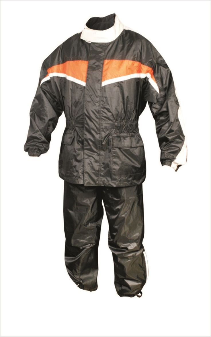 Mens Black and Orange Motorcycle Rain Suit with Reflective Stripe by Allstate Leather. http://www.mymotorcycleclothing.com/