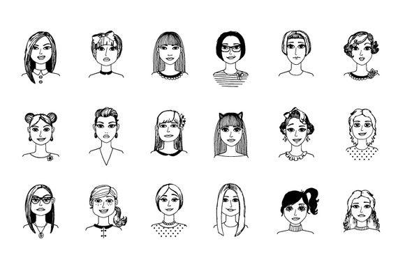 Hand-drawn girls - Objects