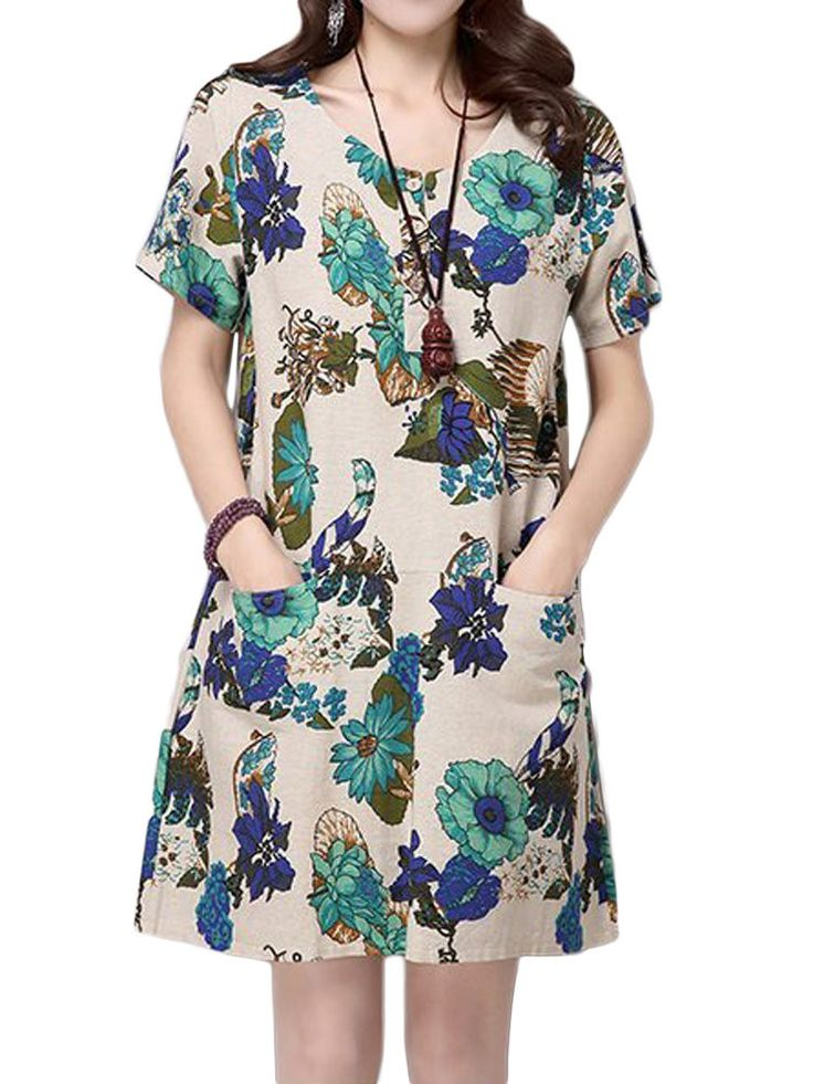 Women Flower Printing Button Pocket Cotton Linen Dress