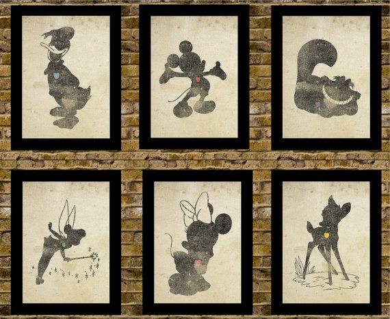 Disney Inspired Silhouettes: (6) 5X7 Art Prints, With Heart Studios - Nursery, Gift, Poster, Vintage