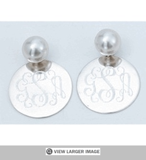 Pearl Earrings with Sterling Silver Charm - Personalized
