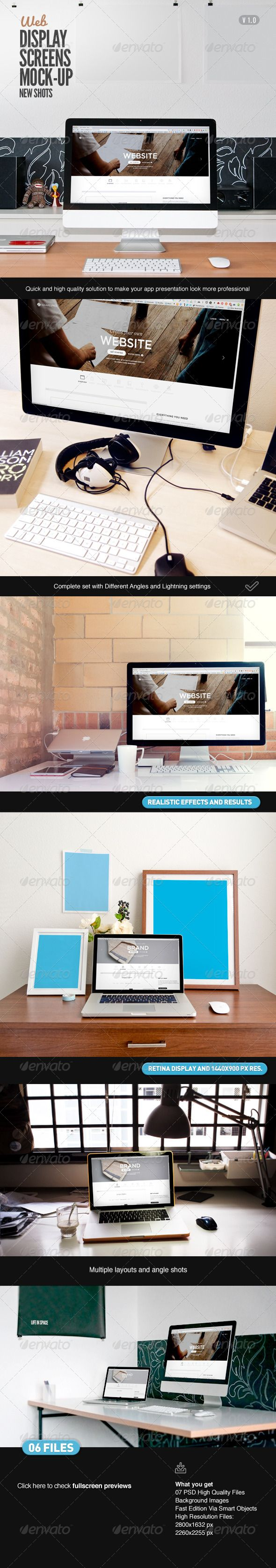 Display Screen Web Mock-Up. Special for website developers and app ui designers, to preview their apps in a professional way, showcasing details and focus on UI Design for Website and app design, using mock ups based on real photographs of iMac and Macbook Pro.