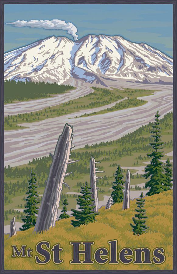 Mount St Helens by Mitch Frey, via Behance volcano, Cascade Range, Northwest, Washington, poster, WPA, National Park, ash, Eruption, mountain, vintage, retro
