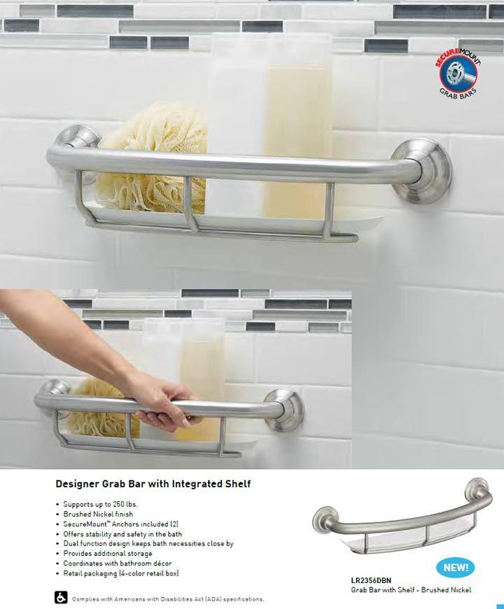 Moen grab bar with intergrated bath shelf. A great waterproof grab bar for your bathtub or shower.