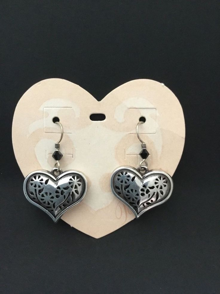 BRIGHTON California Garden Silver Pierced Hollow Heart French Wire Earrings NWT #Brighton #Earring