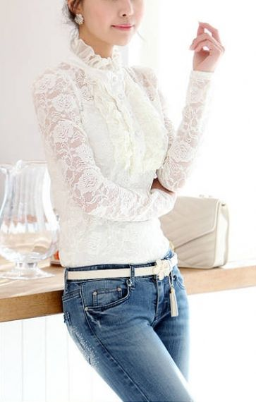♔ White See-through Stand Collar Long Sleeves Lace Blouse