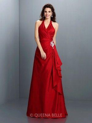 A-Line/Princess Halter Sleeveless Beading Floor-Length Taffeta Dresses - Prom Dresses - Occasion Dresses - QueenaBelle.com
