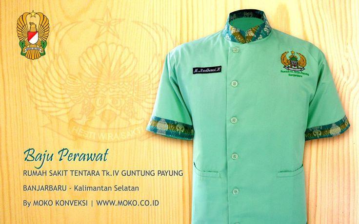 Model Baju Perawat Rumah Sakit TK.IV Guntung Payung [Banjarbaru - Kalimantan Selatan - Indonesia] by @mokokonveksi   Baju perawat rumah sakit model terbaru dengan kombinasi batik motif tradisional dan warna hijau mint yang menyejukkan.