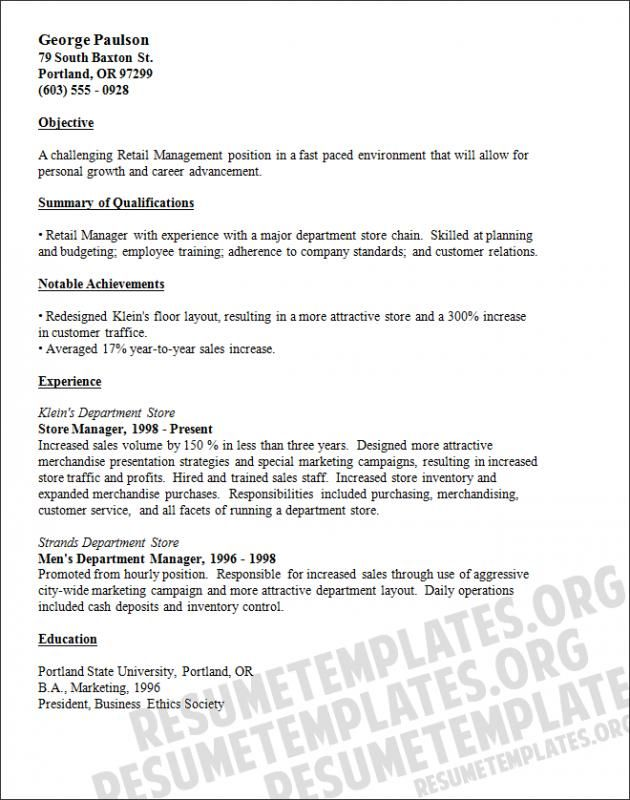 Retail Resume Template template Pinterest Resume, Resume