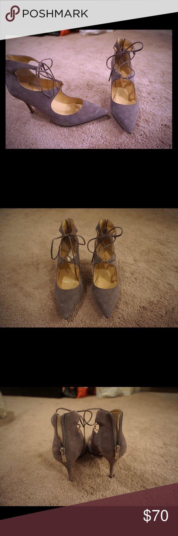 Ivanka Trump Tie up heels Gray Ivanka Trump tie up heels, worn once Ivanka Trump Shoes Heels