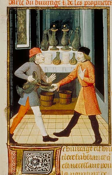 Servir le vin, Bathélemy l'anglais, propriété des choses. XVe siècle.BNF France / illumination / 15th century/ wine
