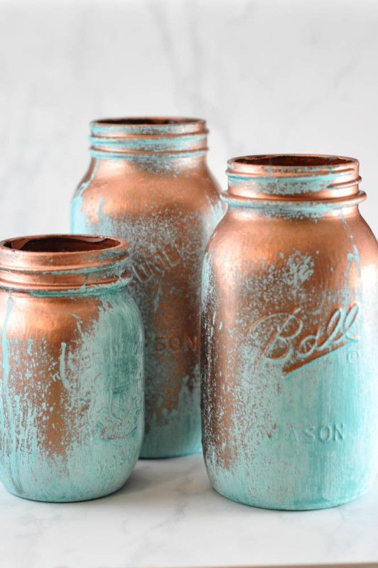Use reactive metal paints to create these copper mason jars with a blue patina. It's easier than you'd think - Suburble.com