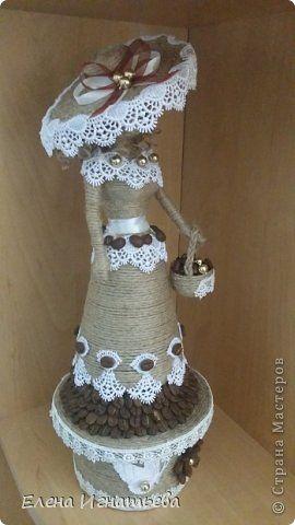 Мастер-класс Поделка изделие Моделирование конструирование Моя леди - как я ее делала Бусины Бутылки пластиковые Кофе Кружево Шпагат фото 1