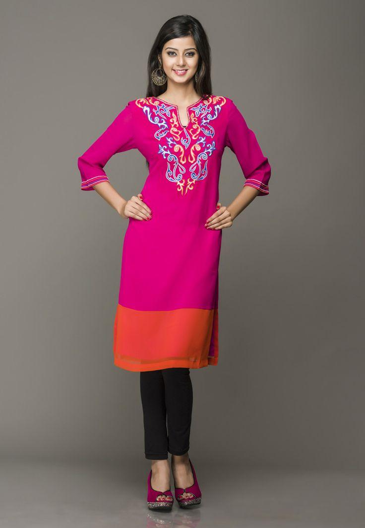 Pink Faux Crepe Readymade Long Kurti Online Shopping: TCD120