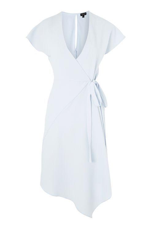 Asymmetric Hem Wrap Dress