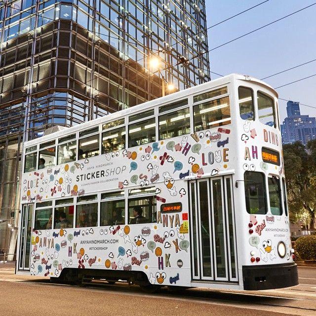 The #AnyaHindmarch @chaosfashiondotcom #StickerSHOP tram en route in #HongKong