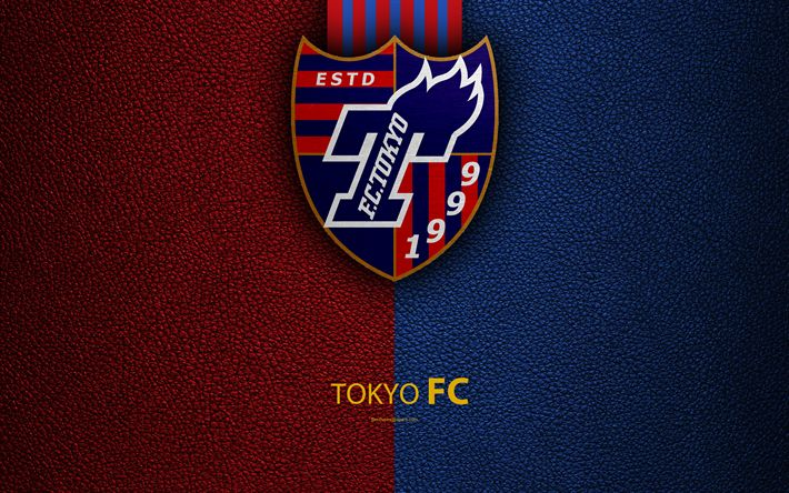 Download wallpapers FC Tokyo, FC, 4k, logo, leather texture, Japanese football club, emblem, J-League, Division 1, football, Tokyo, Japan, Japan Football Championship