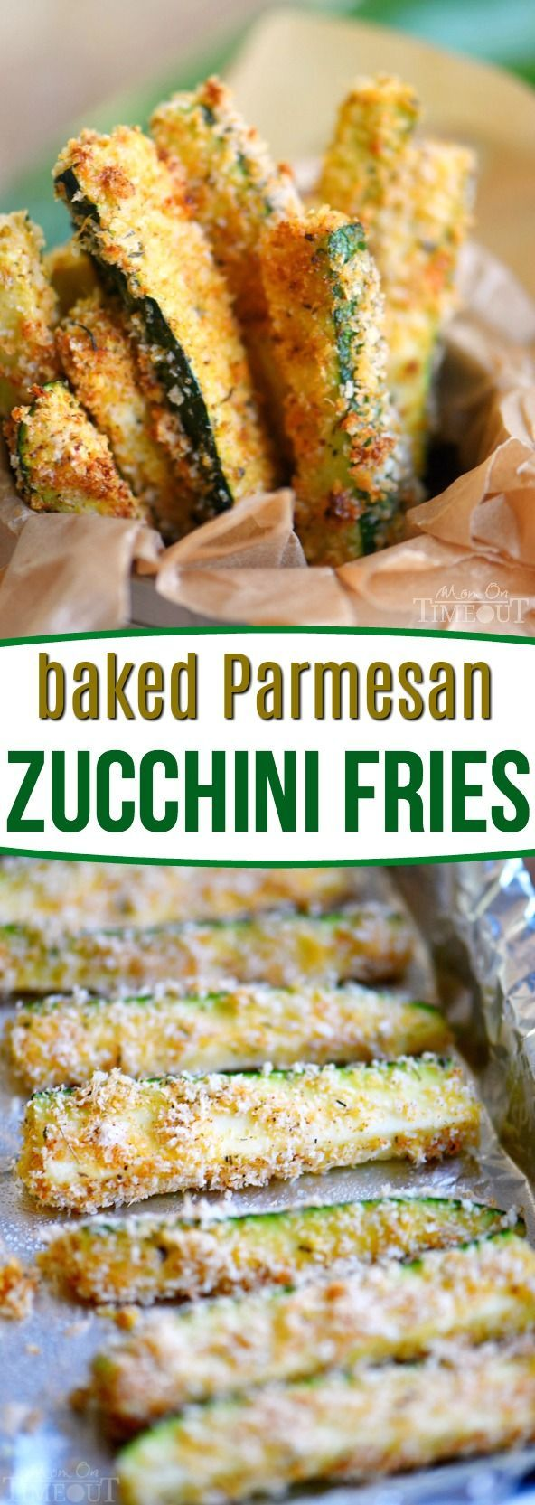 Your new favorite way to eat zucchini! These Baked Parmesan Zucchini Fries are loaded with flavor and baked to golden perfection! The perfect way to use up your summer bounty! // Mom On Timeout