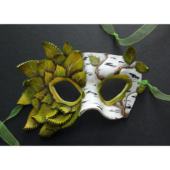 Silver Birch  Leather Mask by windfalcon on Etsy, $125.00