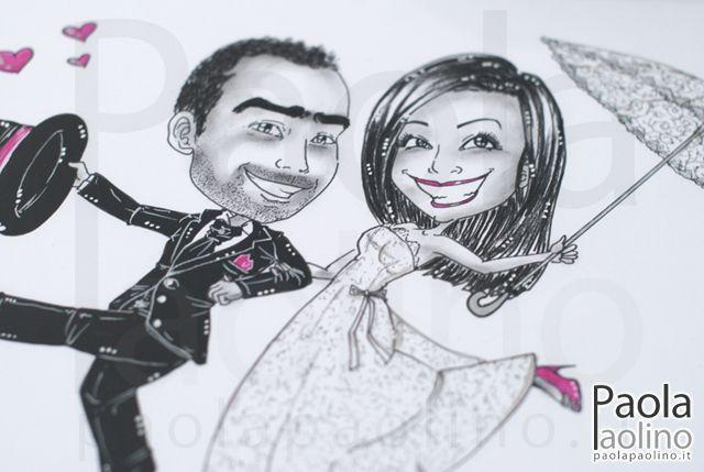 #Caricatura da #matrimonio con dettagli #vintage!  L'unione del bianco e nero del #carboncino con un colore a tema.  #caricaturista