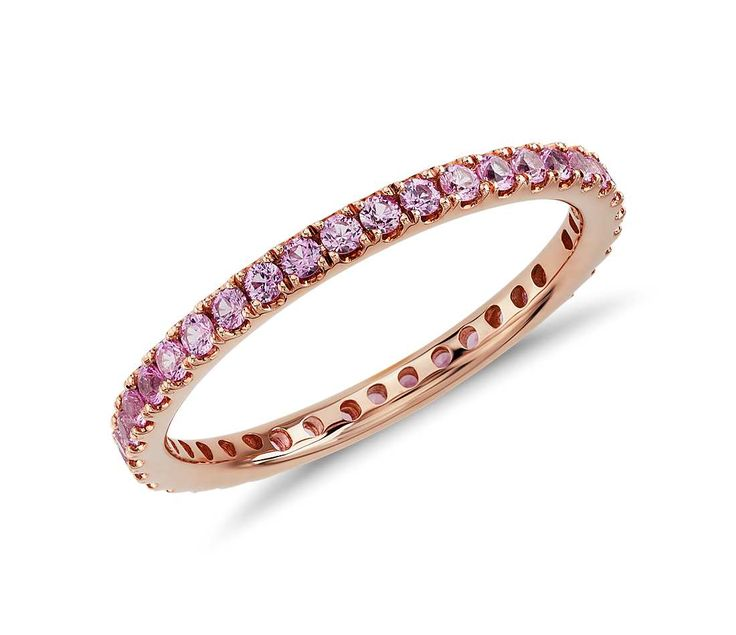 What A Lovely Pink Sapphire Eternity Ring in 18k Rose Gold | #Jewelry #Fashion #Style