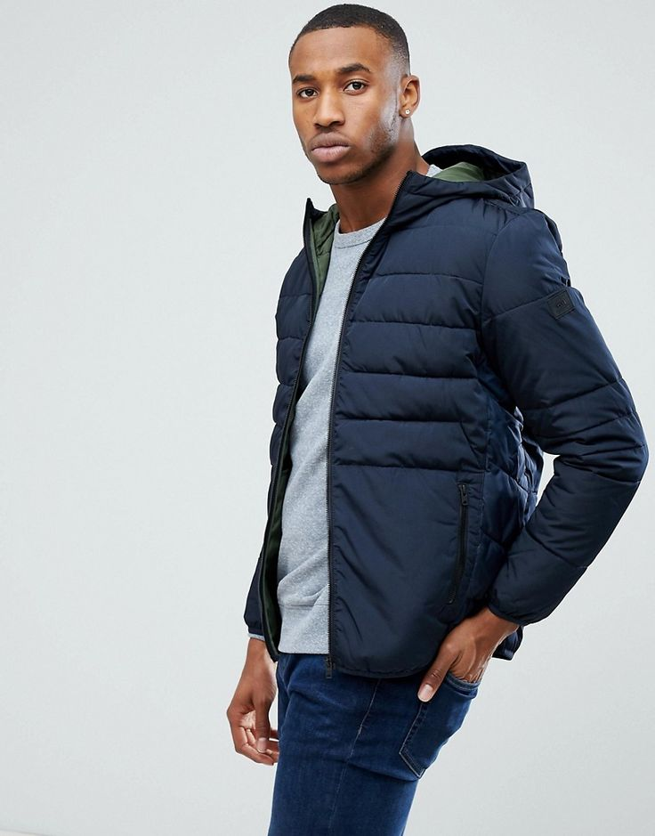 Click for more details. Worldwide shipping. Jack & Jones Padded Parka -  Navy: Coat by Jack Jones, Padded for extra warmth, Contrast lining, Hooded  neck, ...
