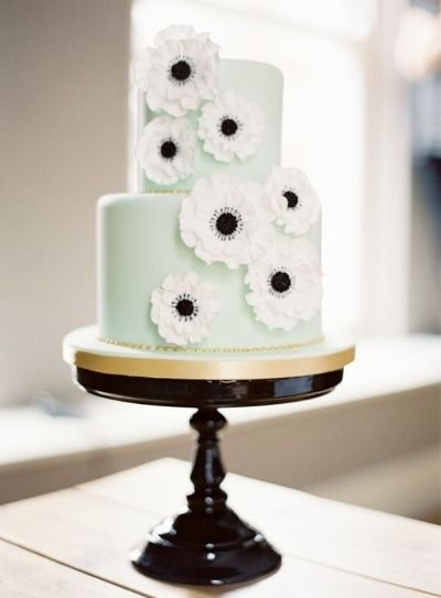 Mint cake with anemone fondant details: http://www.stylemepretty.com/living/2012/12/27/london-new-years-eve-shoot-film-from-mimi-nicole-events/ | Photography: Ed Osborn - http://www.edosbornphoto.com/