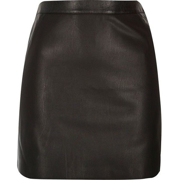 River Island Black leather-look mini skirt (£28) ❤ liked on Polyvore featuring skirts, mini skirts, black, imitation leather skirt, river island, vegan leather mini skirt, short mini skirts and faux leather skirt