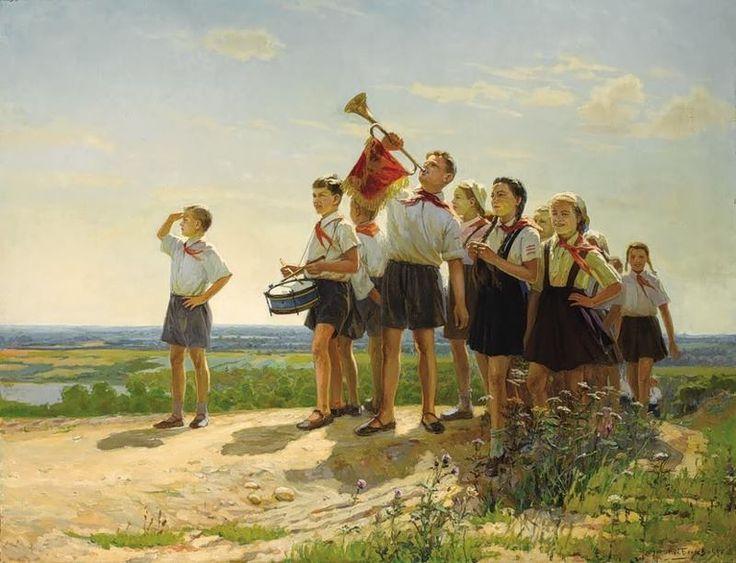 """Nikolai Belyaev """"Happy"""" 1949 #USSR #happy #Pioneers #communism"""