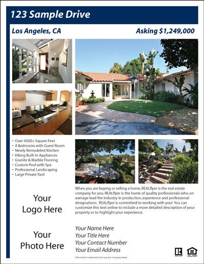 Provides Free Design Templates For Creating Professional Real Estate Flyers  And Postcards Online.