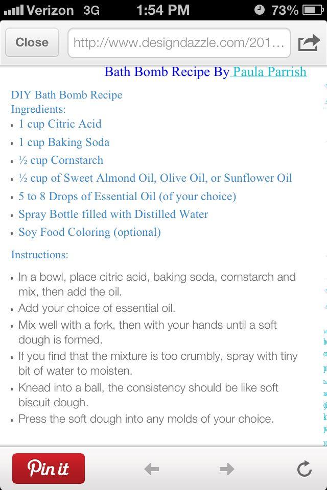 Bath bombs recipe 2013 christmas gifts pinterest