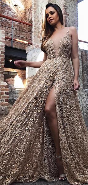 a25a9bafcd Shiny Gold Sequin Lace Spaghetti Strap A-line Prom Dresses