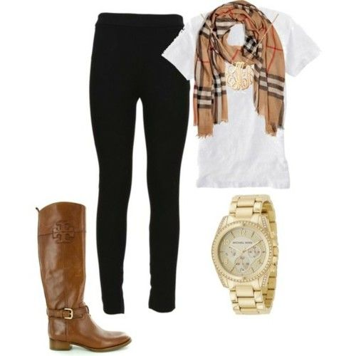 so simple but very cute: Burberry Scarfs, Casual Fall, Fall Wins, Tory Burch, Fall Outfits, Scarves, Casual Outfits, Brown Boots, Everyday Outfits