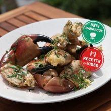 Pinces de crabes au beurre d'ail, à la Plancha