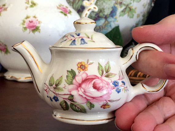 Miniature Sadler Tea Pot Tiny 3in Tall by BarnKittyTreasures