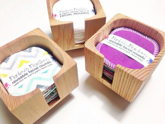 FACIAL ROUNDS & CONTAINER. 20 reusable facial rounds made from flannel scraps…