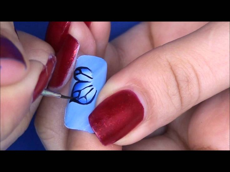 Easy one stroke butterfly nail art tutorial