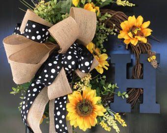 Summer Sunflower Wreath - Spring Wreath for Door - Monogram Wreath - Initial Wreath - Front Door Wreaths - Housewarming Gift